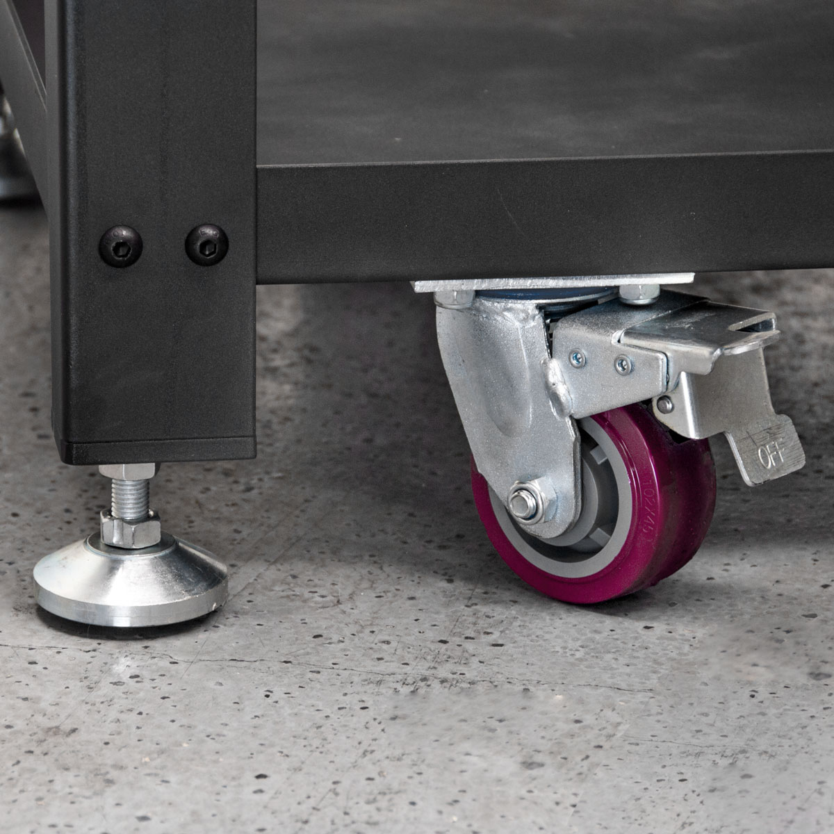Locking casters and leveling feet