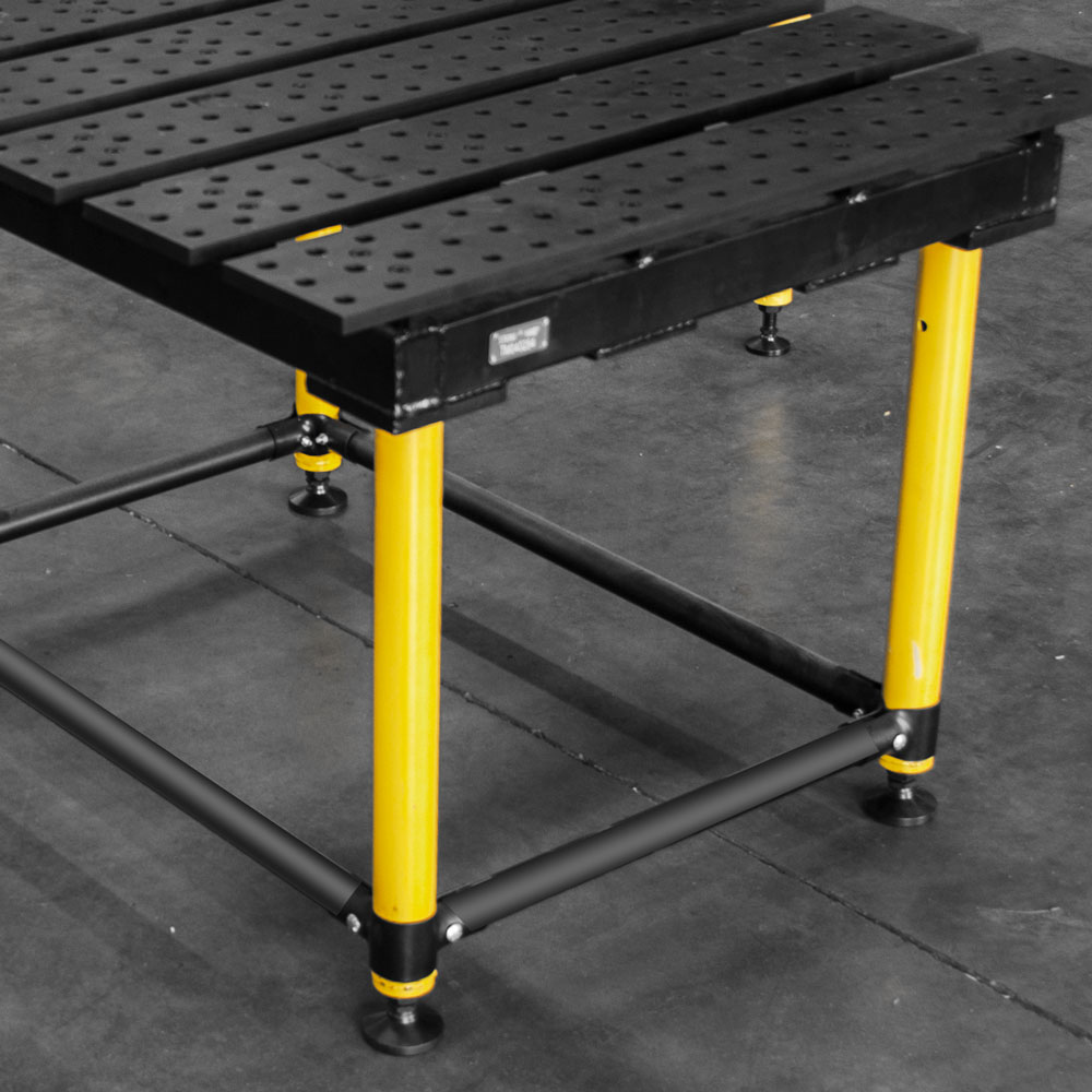 Heavy Duty Leveling Feet ensure proper leveling of the table on uneven surfaces.